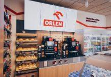 wnętrze pierwszego sklepu detalicznego ORLEN Stop Cafe Praga Thamova w Czechach