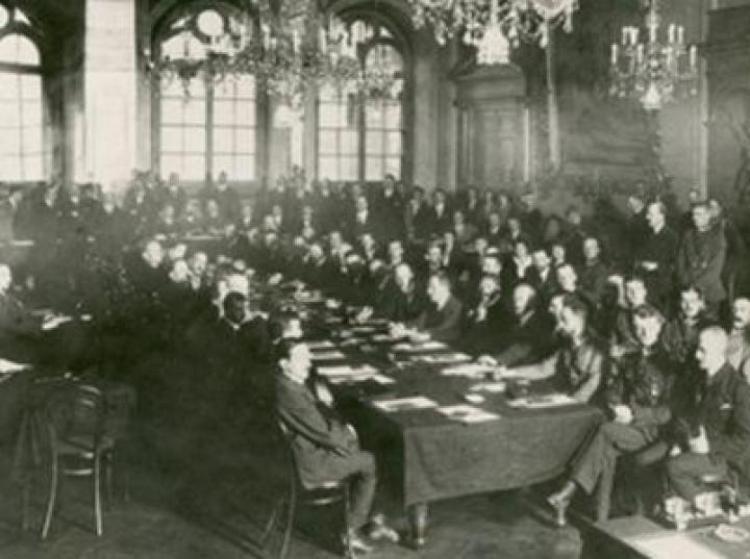 podpisanie traktatu ryskiego - zdjęcie historyczne