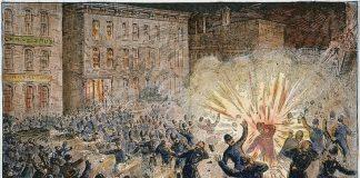 krwawo stłumiony strajku robotników w Chicago w 1896 rok - obraz - grafika wpisu